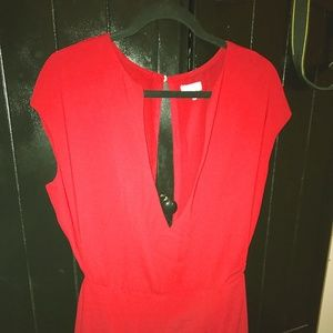 Red Deep  Open front Dress